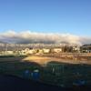 青空と朝日に映えて   〜西山の雪化粧〜