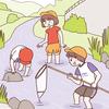 川遊びをする子供のイラスト