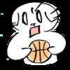 バスケットボールで勝負を挑まれた猫のイラスト