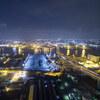 名港潮見インターチェンジの夜景空撮