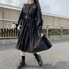サスペンダーストラップ付き ワンピース リボンスリーブ 韓国ファッション レディース ガーリー