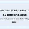畏敬の念のポジティブな側面とネガティブな側面を感じる素質の個人差と文化差(Nakayama et al.,Journal of Cross-Cultural Psychology, 2020)