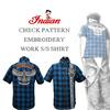 インディアンモトサイクル新作アイテム=初のブルーチェック=刺繍ワークシャツ