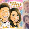 浜田智史のお客様似顔絵(9)/カップル記念日、ウェディング(ハワイ・南国風)