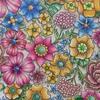 『フラワーズ』よりお花のサークル、カラフルな北欧のイメージで塗ってみた