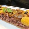 甘栗と甘露煮の栗の赤黒米の押し寿司