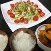 サラダチキン、味噌汁、かぼちゃ煮物