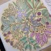フクロウと植物の塗り絵「ひみつの花園」葉っぱごとに配色を変えてみた