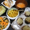 ぶりの塩焼き、青のり大豆炒め、カリフラワーカレー炒め、白菜漬け、椎茸チーズやき、味噌汁