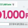 dカードプリペイドにローソン、またはセブン銀行ATMから3万円チャージで1000円プレゼント