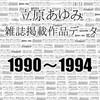 コミックマーケット89に、新刊「立原あゆみ雑誌掲載作品データ1990〜1994」で参加します