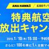 ANAホノルルA380就航記念でキャンペーンの連打!! 「特典航空券枠大放出+100人に1人全額バック」&「Twitterフォロー&リツイートで100名に40,000マイル」&「特典航空券で5,000マイルバック」