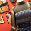 茶色縞紬×青紫系更紗柄仕立て上がり名古屋帯