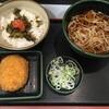 高菜ごはんセットに、クーポン券を使って、コロッケを追加する。 (@ ゆで太郎 in 豊島区, 東京都)