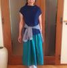 鮮やか色のロングスカート × イロ違いトップスで3種類のコーデ