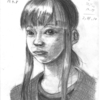 頭骸骨を意識して描く習作と版権 (アナログ2枚)