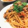 【日常の料理】木の芽薫る豚ハツのトマトラグー スパゲッティ もちろんハイボールと合わせました!!!