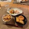 豆の醤油おこわ、千切り野菜と蒸し鶏、大根とがんもの含め煮