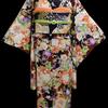 市松に花と雅楽器錦紗小紋×椿・桜・牡丹昼夜帯