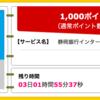 【ハピタス】静岡銀行インターネット支店 口座開設で1,000pt(900ANAマイル)!