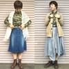 今日の服#146|カモフラージュのシャツ×スカートのコーディネート、2パターン