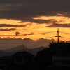 嵐の来る前の夕焼け、稲穂・・・