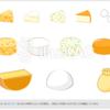 【aiデータ有り】チーズのイラスト素材、カマンベールチーズ・ゴルゴンゾーラチーズ・チェダーチーズなどおしゃれで便利!