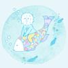 海の中で魚に乗って泳ぐイコール君
