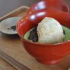 国立の「甘味ゆい」で焼き餅お薄ぜんざい、甘酒と金柑、安納芋とラムレーズン。