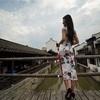 上海新場の古い待並みとチャイナドレス-ポートレート撮影会