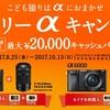 SONY(ソニー)お子さんの撮影にオススメのカメラが最大20,000円キャッシュバック10月まで!