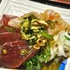 豊洲の「米花」でまぐろと平目の行者にんにく醤油漬け、やりいか煮、ロメインレタス、イカとウドと浅葱のぬた。