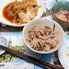 昼食:ヒジキ、舞茸、タコで炊き込みご飯