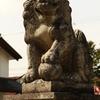 穴水駅近くの穴水大宮の狛犬は体育会系のような顔
