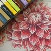 完成】三菱No.888+無印色鉛筆+色辞典色鉛筆でダリアページの塗りメイキングです☆
