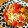 冷製トマトのパスタ、そして枝豆の香り炒め