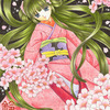 「桜姫のまどろみ」色鉛筆&鉛筆オリジナル和風イラスト