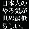 日本人社員のやる気が世界最低ランクだってさ。