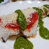 鱈のパン粉焼き ミントとアンチョビのグリーンソース