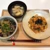 【献立・一汁一菜】じゃことナスの丼+豚キムチ+味噌汁