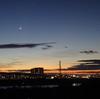 朝焼けに輝く、月と木星!3倍楽しい、秋の夜明け前ラン