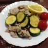 ズッキーニと豚肉のポン酢炒め は調理時間10分程、あっさり味でご飯がすすみます