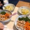 三色丼、白菜の塩蒸し煮