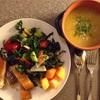 ✴︎ギーとフェンネルとルタバガとオレンジ皮とスパイスのスープ(覚書き)、タスカンケールとトマトとレモン皮その他のサラダ
