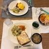 ミートソースごはんに卵乗せとキャベツ炒め(ようじ)/ツナチーズトーストにキャベツ炒めと人参ナムル、昨日の味噌汁(おとな)/人参と卵と鮭の三色ごはん、ほうれん草のおひたし(乳幼児)