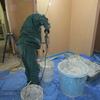 新築戸建て注文住宅の施工(漆喰を用いた内装作業)