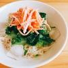 今日の朝食 サラダ素麺withオリーブオイル