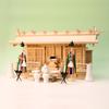 横長の神棚に神具一式セットを加えたときの祭り例 明治三社 尾州桧