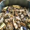 豚肉、なす、舞茸 花椒炒め