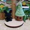 黒うさちゃんとグリーンの帽子*あみぐるみ